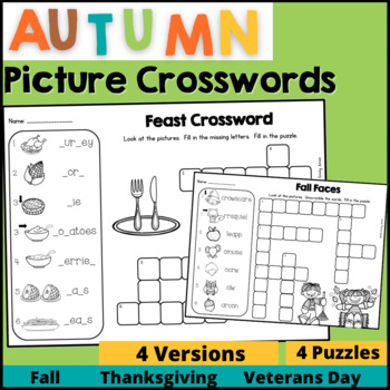 Fall Picture Crossword Puzzles (phonics, fill-in, scramble)