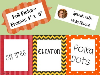 Fall Picture Frames 4 By 6 By Speech With Stacie Tpt