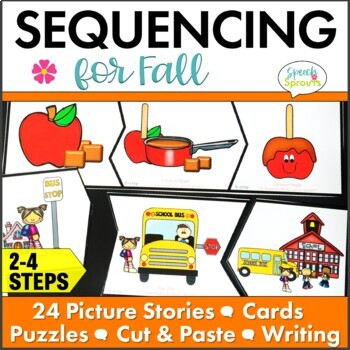 Fall Picture Story Sequencing Activities with Retell and Writing