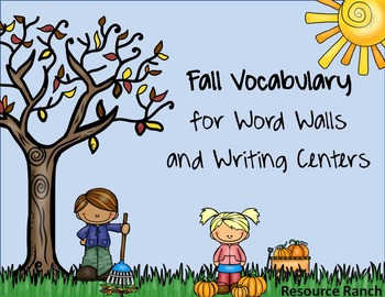 Fall Word Cards - Picture cards for Word Walls and Writing
