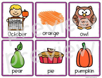 Fall Picture Word Cards