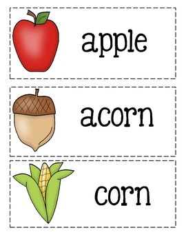Fall Picture Word Cards And Fall Worksheets