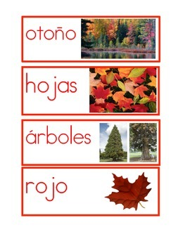 Fall Picture Word Cards in Spanish