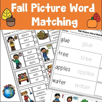 Fall Picture Word Matching
