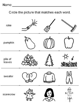 Fall Picture to word match