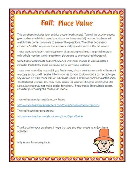 Fall: Place Value