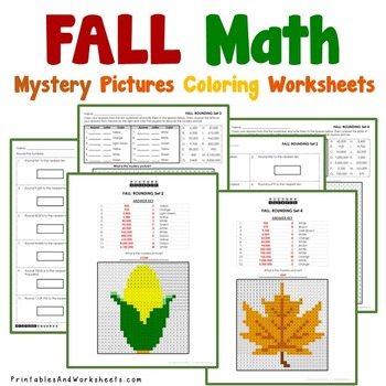 Fall Place Value Coloring Worksheets (Autumn)