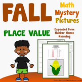Math Color By Number, Fall Place Value Worksheets Mystery Picture Pages