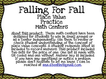 Fall Place Value Math Center --- With and without QR codes