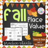 Fall Place Value Practice Sheets Tens and Ones