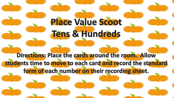 Fall Place Value Scoot Tens and Hundreds