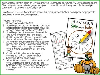 Fall Place Value Spin and Win