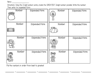 Fall Place Value Task Cards