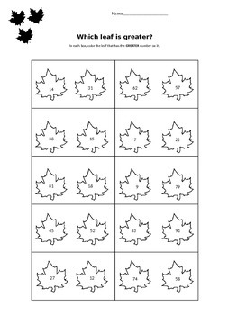 Fall Place Value Worksheet