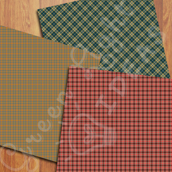 Fall Plaid Digital Papers / Autumn Tartan Backgrounds / Tartan Patterns
