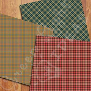 Fall Plaid Digital Papers / Autumn Tartan Backgrounds / Tartan Patterns