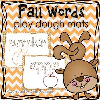 Fall Play Dough Mats, Fall words practice
