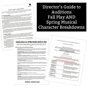 Fall Play & Spring Musical Audition Packet Template