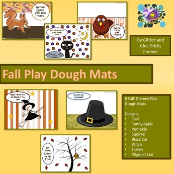 Fall Play Dough Mats ( 8 Designs including an Owl, Squirrel, and Pilgrim Hat)