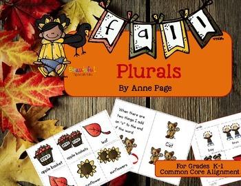 Fall Plurals for Kindergarten, 1st Grade & Special Education