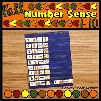 Fall Pocket Chart Number Sense Activity (1-10)