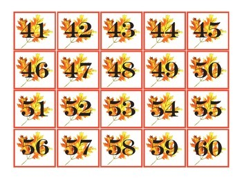 Fall Pocket Chart Number Cards 1-100