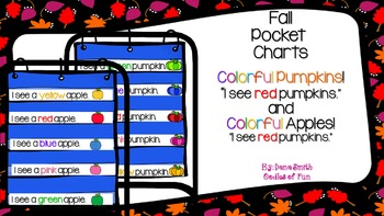 "Fall Pocket charts: ""I see (color) pumpkin/apple."""