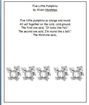 Poem:  Five Little Pumpkins