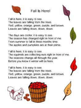 Fall Poem Freebie - Fall Is Here!