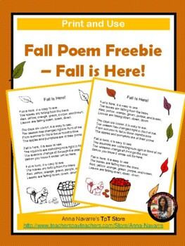 Fall Poem Freebie Fall Is Here By Anna Navarre Tpt