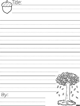Fall Poem Writing Journal page : Illustrated with Lined Ha