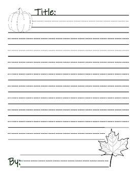 Fall Poem Writing Journal page : Illustrated with Lined Handwriting Paper