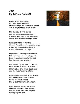 Fall Poem with Comprehension Questions