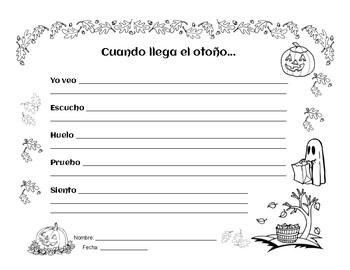 Fall Poems - Poemas de Calabazas, Espantapajaros y Accion de Gracias - Spanish
