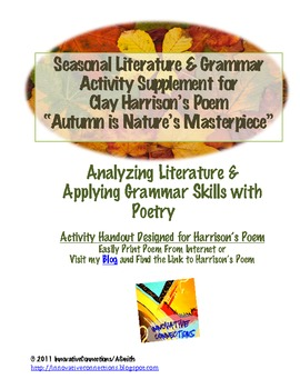 Fall Poetry Activity: Literature & Grammar Skills with Key