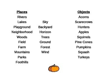 """Fall Poetry - """"My Autumn Eyes Behold"""" Creative Writing Brainstorming Lists"""