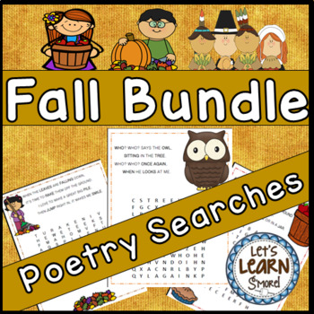 Fall Poetry, Word Searches, Fall Theme, With Original Poet