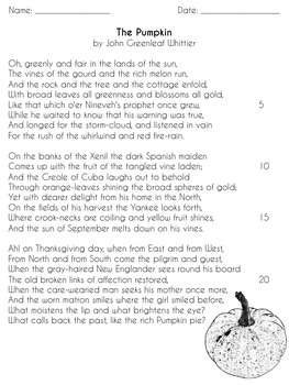 """Fall Poetry- Whittier's """"The Pumpkin"""" and Clare's """"Autumn"""""""