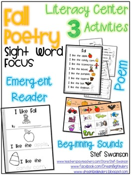 Fall Poetry Work Station {Sight Word Focus} 3 Literacy Activities