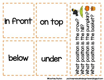 Fall Positional Words Activity - Common Core K.G.1