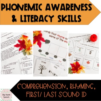Fall Pre/ Emergent Reader Literacy and Speech/Language Activities
