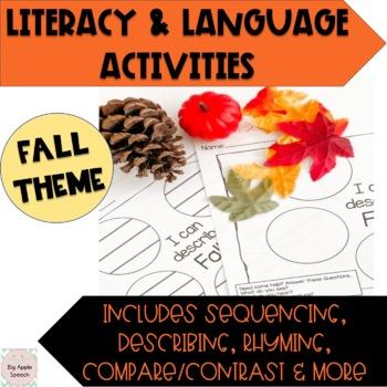 Fall Pre/ Emergent Reader Literacy and Speech/Language Activities