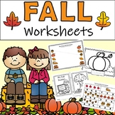 Fall Pre-K Worksheets - Literacy, Math and Colouring Sheets