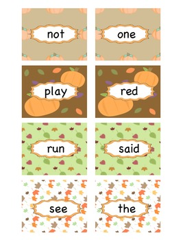 Fall Pre-Primer Sight Word Concentration