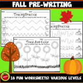 Fall Pre-Writing Tracing Worksheets / Autumn Pre-Writing Tracing Worksheets