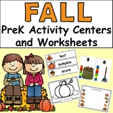 Fall PreK Activity Centers and Worksheets - 91 pages