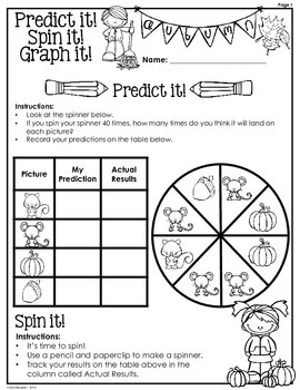 Fall: Predict it! Spin it! Graph it! Graphing & Probability activity-3rd Grade