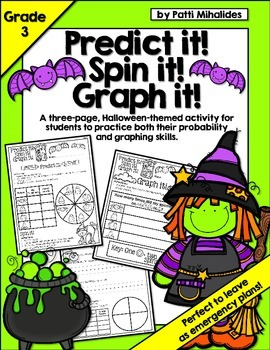 Halloween: Predict it! Spin it! Graph it! Graphing & Probability -3rd Grade