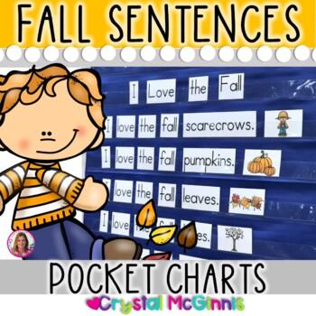 Fall Predictable Sight Word Sentence Pocket Charts (10 Pocket Charts)