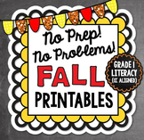 Fall NO PREP Literacy - 1st Grade (Common Core)